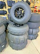 Qb 14 Slicer Wheels With 30 Cst Sandblast Paddle Tires New Set-fits Can-am