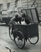 1955 Vintage Robert Doisneau Tricycle Love Young Couple Kiss Photo Art 12x16