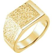 14k Yellow Gold Menand039s Signet Nugget Ring