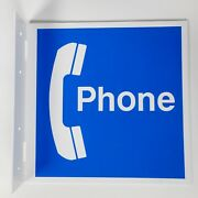 Vtg Blue Phone Pay Phone Double-sided Sign 12 Square Fun Art Decor Plastic