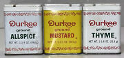 Lot Of 3 Empty Vtg Durkee Spice Tins All Spice Mustard And Thyme Retro Kitchen