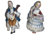 Vintage Empress By Haruta Couple Man And Lady Porcelain Figurines Victorian Era
