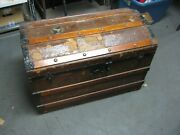 Antique Steamer Trunk W/ Cunard Queen Elizabeth Tags Wood And Metalcanvas Covered