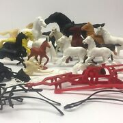 Vintage Toy Horse And Accessory Mix Lot Of 34 Timmee Mpc Marx Auburn Etc