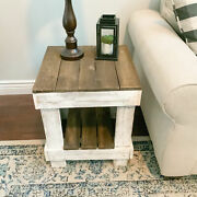 Rustic Farmhouse Side Table Reclaimed Solid Wood Decor Display Stand Brown/white