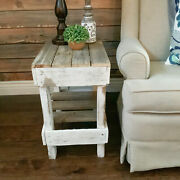 Rustic Side Table Reclaimed Solid Wood Display Stand Distressed White/natural