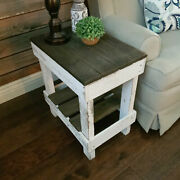 Rustic Side Table Reclaimed Solid Wood Display Stand Distressed White/dark Brown