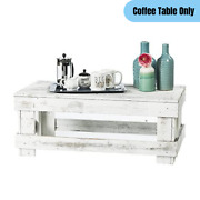 Rustic Farmhouse Coffee Table Rectangular Reclaimed Wood Distressed White Finish