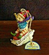 Jim Shore Heartwood Creek Christmas Ornament Cat On Sleigh W Santa Hat With Tag