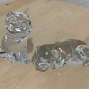 Princess House Crystal House Pets Cat And Dog Set Cleat Figurines 24 Lead Crystal