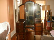 Antique Vanity Dressing Table With Trifold Mirror From W. Virginia