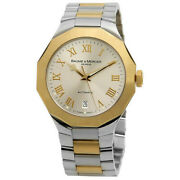 Baume And Mercier Vintage Riviera Two Toned Steel Gold Automatic Mens Swiss Watch