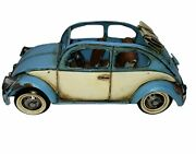 Vintage Blue And White Volkswagen Beetle Tin Toy Convertible Car 1/64