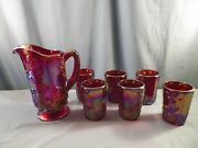Westmoreland Red Carnival Glass Paneled Grape Water Set - Pitcher And 6 Tumblers