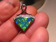 3 Ct. Natural Gem Opal And Diamond Pendant 18k White Gold