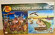 Factory Sealed Wii Bass Pro The Strike + Rod + The Hunt + Gun Outdoor Mega Pack