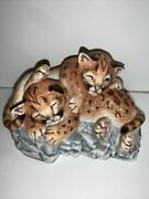 Lenox Nature's Young Played Out Cougar Cubs Porcelain Figurine Vintage 1988