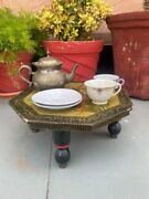 Antique Handcrafted Wooden Beautiful Hand Painted Flower Motif Low Bajot Table
