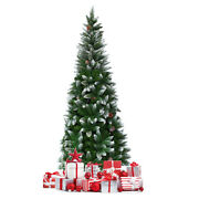 5ft Hinged Artificial Pencil Christmas Tree Snow Flocked Unlit Home W/pine Cones
