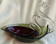 3 Lot Vintage Duncan Miller Nesting Green And Ruby Red Glass Candy Dish Swans