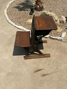 Antique 1930 School Desk Cast Iron And Wood Vintage Classroom Writing Table