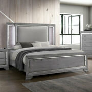 Classic Style Bedroom Queen Size Bed W Led Padded Headboard Light Gray Wooden
