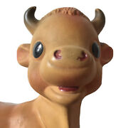 Vtg Cow Squeak Toy By Rempel Akron Ohio Usa Squeaker Works.rubber.horns.udder