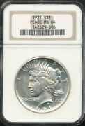1921 Peace Silver Dollar Ngc Ms 64 First Year Of Issue High Relief