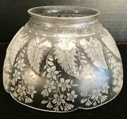 Vintage Acid Etched Glass Crystal Raised Pattern Gas Light Shade 4andrdquo Fitter
