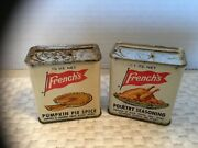 Vintage Frenchandrsquos Pumpkin Pie Spice And Poultry Seasoning Tin Cans Rare 2 Awesome