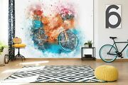 3d Watercolor Bicycle O524 Transport Wallpaper Mural Self-adhesive Removable Amy