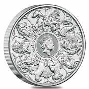 2021 Great Britain 2 Oz Silver Queenand039s Beasts Completer Coin .9999