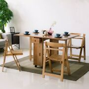 Space Saving Solid Wood Folding Dining Table Set 58 -piece Dining Table 4 Chair