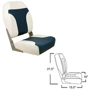Springfield 1040667 High Back Folding Boat Seat Chair Off White Blue Upholstery