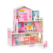 Large Children's Wooden Pink Dollhouse Fits Barbie Doll House W/furniture