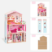 3 Level Wooden Doll House Girls Pretend Play Furniture Large Toy Pink Dollhouse