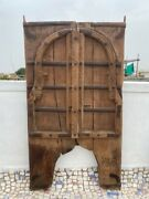 1700and039s Antique Rare Wood Carved Arch Shape Floral Castle 50 X 27and039and039jharoka Door