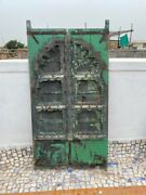 1750and039s Antique Rare Wood Carved Arch Shape Floral Castle 43 X 23and039and039jharoka Door