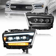 Vland Full Led Style Headlights Sequential For 2019-21 Dodge Ram 1500 Lh+rh Pair