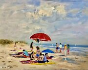 Nino Pippa Well Listed Original Oil Painting Provence Cassis Beach Coa 16x20