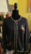Orvis Embroidered Christmas Sweater Goose Womenand039s Size S Zip Up
