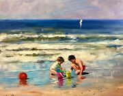 Nino Pippa Listed Original Oil Painting Children Playing On The Seashore 16x20
