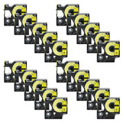 20pk 18432 Ind Vinly Label Tape For Dymo Rhino 3000 5200 Black On Yellow 1/2