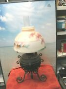 Vintage 19th Century Oil Lamp With A Hand Painted Shade.-- A Beauty