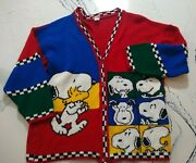 Vintage 1992 Peanuts Snoopy And Friends Colorblock Knit Sweater Large