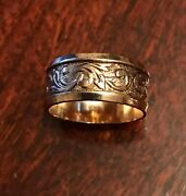 Antique Victorian Style 14k Gold Filled Wide Embossed Band Ring