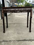 Wonderful Antiques 19th Chinese Wood Table Mother Of Pearls 36 In X 33 In 19 In