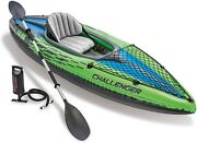 Intex Challenger K1 Inflatable Single Person Kayak Set W/ Accessories And Pump
