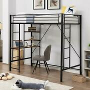 Twin Size Metal Loft Bed Frame With Shelves And Workstation Space-saving Design
