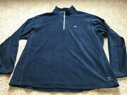 Tommy Bahama Blue Mens Fleece Pullover 1/4 Zip Long Sleeve Size 2xb Polyester